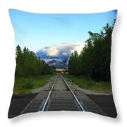 Train Tracks Anchorage Alaska Throw Pillow