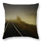 Train Tracks Into The Morning Fog With Lake Throw Pillow