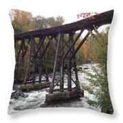 Train Tracks Over The Winnipesaukee River Throw Pillow