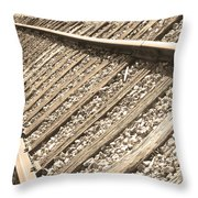Train Tracks Sepia Triangular  Throw Pillow