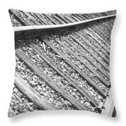 Train Tracks Triangular In Black And White Throw Pillow