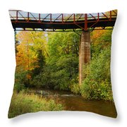 Train Trestle Throw Pillow by Michael Peychich