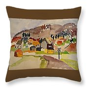 Train Whistle Stop Village  Throw Pillow