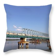 Train With Tank Wagon On Bridge Throw Pillow