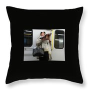 Train Woman Magazine Throw Pillow