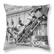 Train Wreck At Montparnasse Station Throw Pillow