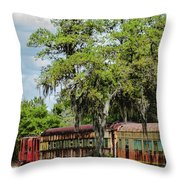 Train Yard Throw Pillow