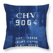Trains 14 Cyanotype Throw Pillow