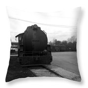 Trains 3 Blkwht Throw Pillow