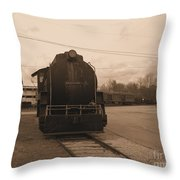 Trains 3 Sepia Throw Pillow