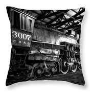 Trains 3007 C B Q Steam Engine Bw Throw Pillow