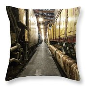Trains Ancient Iron In The Barn Throw Pillow
