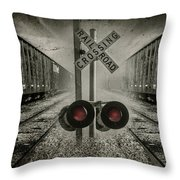 Trains Crossing Throw Pillow
