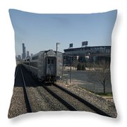 Trains Passing The Home Of The Chicago White Sox Throw Pillow
