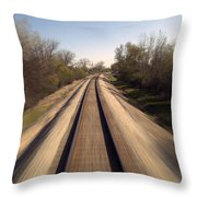 Trains Power Approaching The Crossing Throw Pillow