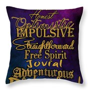 Traits Of A Sagittarius Throw Pillow
