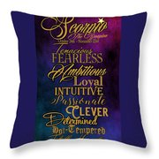 Traits Of A Scorpio Throw Pillow by Mamie Thornbrue