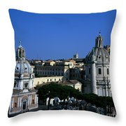 Trajan's Column Church Of Santa Maria Di Loreto Church Of Our Lady Giclee Rome Italy Throw Pillow