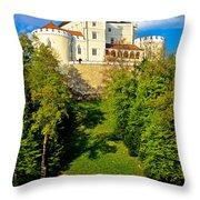 Trakoscan Castle And Green Lake  Throw Pillow