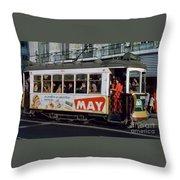 Tram 223, Graca, Lisbon, 1972 Throw Pillow