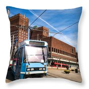 Tram In Front Of Oslo City Hall Throw Pillow