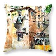Tram In Lisboa Throw Pillow