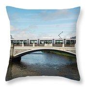 Tram On The Sean Heuston Bridge Throw Pillow
