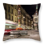 Tram Rushes In The Street Of Bern Throw Pillow
