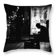 Tram Station Silhouettes Throw Pillow