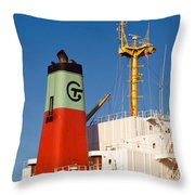 Tramp Steamer Unloading Coal At Port Canaveral In Florida Throw Pillow