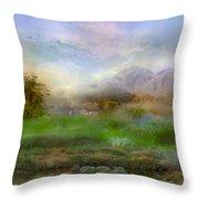 Tranquil Alpine Village Throw Pillow
