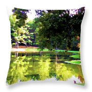 Tranquil Landscape At A Lake 1 Throw Pillow