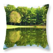 Tranquil Landscape At A Lake 2 Throw Pillow