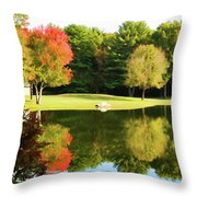 Tranquil Landscape At A Lake 3 Throw Pillow