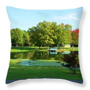Tranquil Landscape At A Lake 5 Throw Pillow