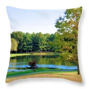 Tranquil Landscape At A Lake 6 Throw Pillow