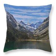 Tranquil Mountain Lake Throw Pillow