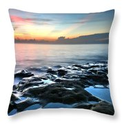 Tranquil Sunrise At Coral Cove Beach Throw Pillow