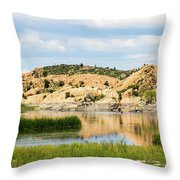 Tranquil Willow Lake Throw Pillow