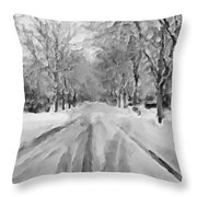 Tranquil Winter Snow Street With Car Tracks Throw Pillow