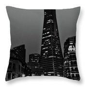 Trans American Building At Night Throw Pillow
