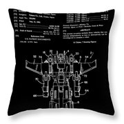 Transformers Patent - Black And White Throw Pillow