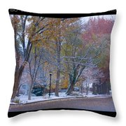 Transitions Autumn To Winter Snow Poster Throw Pillow