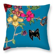 Transparent Flowers And Butterflies In Color Throw Pillow