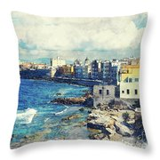 Trapani Art 19 Sicily Throw Pillow
