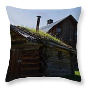 Trappers Cabin Clydesdale Barn Throw Pillow