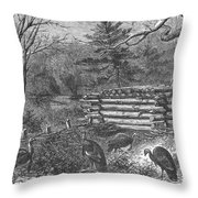 Trapping Wild Turkeys, 1868 Throw Pillow