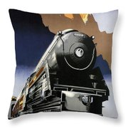 Travel Canadian Pacific Across Canada - Steam Engine Train - Retro Travel Poster - Vintage Poster Throw Pillow
