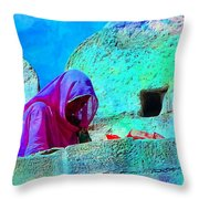 Travel Exotic Woman On Ramparts Mehrangarh Fort India Rajasthan 1e Throw Pillow