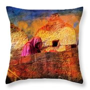 Travel Exotic Woman On Ramparts Mehrangarh Fort India Rajasthan 1h Throw Pillow